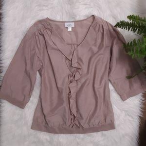 LOFT V Neck ruffled blouse